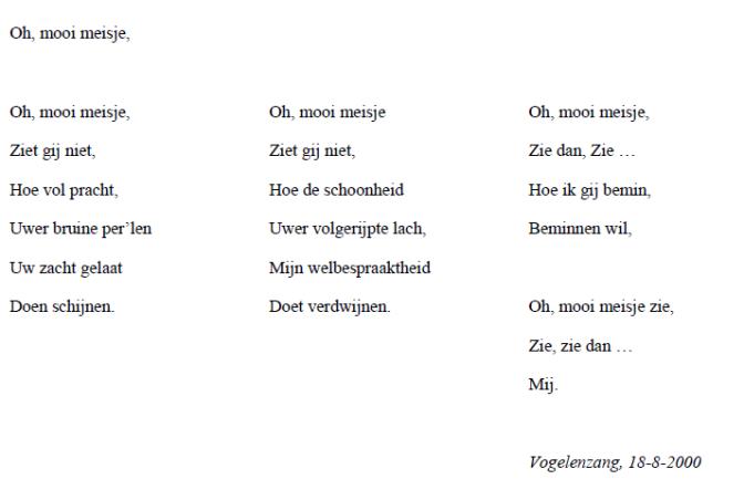 Valentijns Gedicht: Oh, mooi meisje